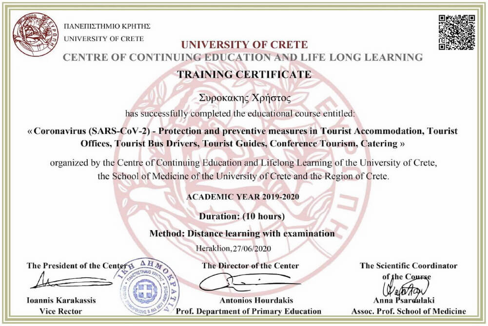 Training Certificate for Covid 19